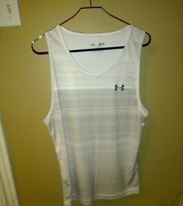 Under Armour Heat Gear Loose Fit Striped Ivory Tank Top Size M Sleeveless Shirt