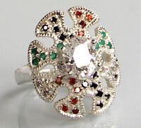925 ECHT SILBER *** Großer Ring Zirkonia multicolor, Gr. 54 (17)