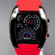 Fashion Men's LED Digital Aviation Speedometer Week Silicone Sports Wrist Watch