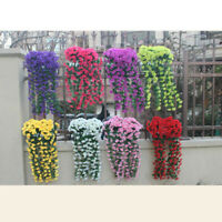 Hanging Wall Artificial Fake Silk Violet Orchid Flowers Wall Rattan Plant Basket