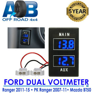 Dual Battery Volt Meter FOR Mazda BT50 2011 - Current with BLUE Light