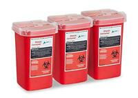 AdirMed Sharps and Needle Bio-hazard Disposal Container 1 Quart - 3 Pack