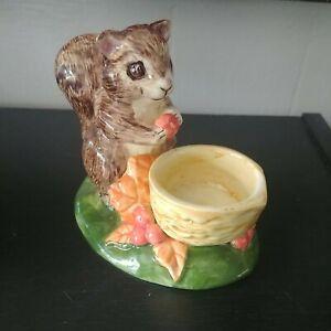 """Cute Vintage 4"""" Squirrel Votive Tealight Candle Holder Ceramic Tea Light VTG"""