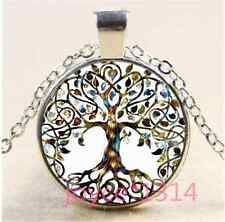 Living Tree of Life Cabochon Tibetan silver Glass Chain Pendant Necklace#1253