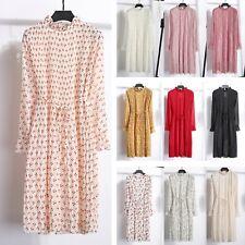 Women's Boho Floral Chiffon Pleated Dresses Lady Long Sleeve Vintage Skirts