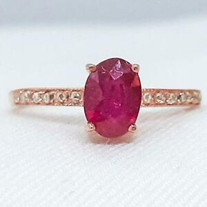 .95ctw Mozambique Ruby & H-SI Diamond 14K Rose Gold 925 Sterling Silver Ring
