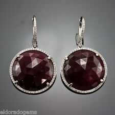 14K WHITE GOLD EURO WIRE EARRINGS - GENUINE RUBY & 1.25 CT. ROUND DIAMOND