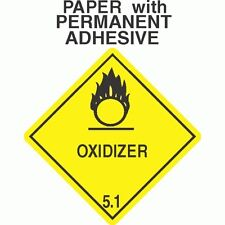 L-306 Oxidizer Class 5.1 Paper Labels D.O.T. 4X4 (ROLL OF 500)