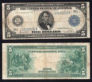 United States - 5 dollars Federal Reserve SAN FRANCISCO 1914 (Large) BB/VF  S-01