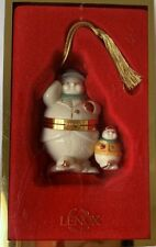 Lenox Ornament Skating Snowman and Kid Trinket Box Treasures Collection 2001