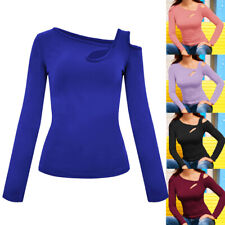Womens One Cold Shoulder Long Sleeve Tops Slim Fit Blouse Ladies Jumper T-Shirt