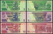 Zimbabwe SET 3 Pcs 2, 5 & 10 Dollars 2019-2020 NEW UNC