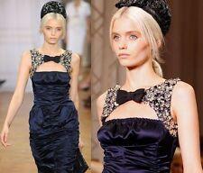 NINA RICCI Navy,Bow,Artistic Metallic Floral Design dress IT 38,US 0-4,XXS-XS