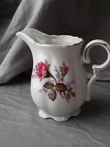 """Vintage Porcelain Gold Trim Red Rose 4"""" Creamer Pitcher"""