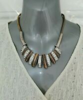PER UNA Silver Gold Bronze Tone Metal Statement Necklace Runway Power Dressing