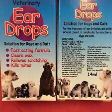 2 x Veterinary Ear Drops Cat Kills Mites Soothes Irritation Clears Wax Fast Act