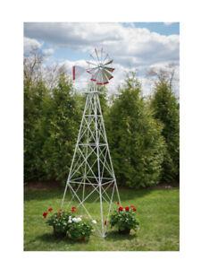 Wingards Premium Aluminum Ornamental Windmill - Silver/Red Trim