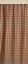 YORK Wine Shower Curtain Burgundy/Tan Check Prim Farmhouse Country Park Designs