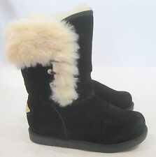 new Womens Black Winter Flat Ankle Boot Fur Inside Adult Size 10