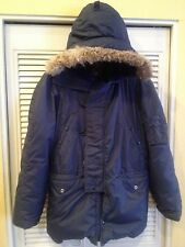 Antler Flight Jacket Parka  Fur Snorkel Hood Down Navy Blue Small Coat USAF
