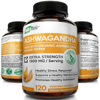 ☀ Organic Ashwagandha Capsules 1300mg 120 Capsules with Black Pepper Root Powder