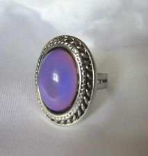 Oval MOOD RING - Antique Silver Shade - adjustable to fit ring sizes 7-11