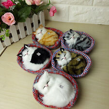 Simulation Sounding Sleeping Cats Plush Mat Toy With Nest Kids Children's Gift