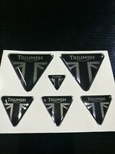 kit adesivi per triumph loghi argento cromo-nero in resina gel 3D new stickers