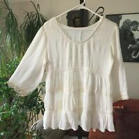 JAPNA sz S Ivory Tiered Embroidered Bohemian Peasant Top Boho