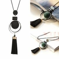 Women Boho Long Tassel Pendant Necklace Bead Charm Rope Sweater Chain Jewelry