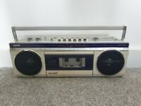 Sharp QT12 Radio Casette Player / Boombox | Cream/Off-White | Retro Vintage