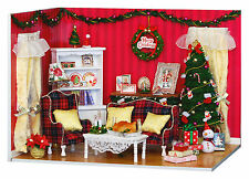 DOLLHOUSE MINIATURE DIY KIT W/LIGHTS & COVER, #V-001, CHRISTMAS PARTY