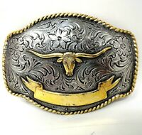 Nocona Western Mens Belt Buckle Rectangle Longhorn Silver 3757813