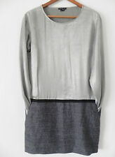 Theory Dress Long Sleeve Silver/Gray Satin Drop Waist Tunic Size 4