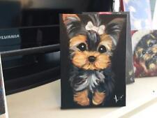 Yorkie Puppy With Bone Barrett Original Painting