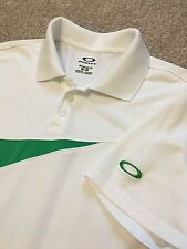 Splendido Oakley Regular Fit Bianco/verde Wicking Polo Shirt M Medium costo £ 70