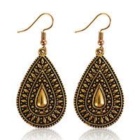 Fashion Women Vintage Water Drop Carved Dangle Ear Hook Earrings Jewelry