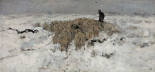 Flock of Sheep with Shepherd in the Snow Anton Mauve Animals Shepherd B a3 00607