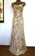 MONSOON ✩  STUNNING SHARIF ACAPULCO IVORY GOLD SILK MAXI EVENING DRESS  ✩  UK 10