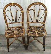 Vintage Bamboo Rattan Tan Dining Chairs Set of 2 Boho