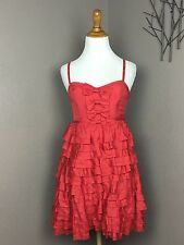 Betsey Johnson Evenings Red Silk Corset Style Tiered Cocktail Dress 4