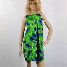 Vintage Katy RODRIGUEZ Dress Godet Panel Shift Silk Size 0 Vibrant Green Blue