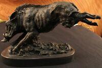 Bronze Pure Copper Figurine Wild boar Pig Marble Base Statue Sculpture Figure
