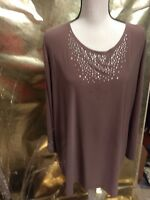 """WOMEN'S """"MAXIMA USA"""" TAUPE FANCY BLOUSE SZ3XL GREAT FOR HOLIDAYS"""