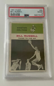 1961 Fleer Basketball Bill Russell IN ACTION #62 PSA 2 Good