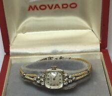 VINTAGE 14K WHITE GOLD LADIES MOVADO DIAMOND WRIST WATCH ROPE BAND SWISS *FLAWS*