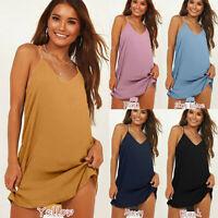 Women's Fashion Sexy Deep V-neck Sleeveless Loose Bottoming Mini Beach Dress A