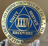 34 Year AA Medallion Blue Gold Plated Alcoholics Anonymous Sobriety Chip Coin