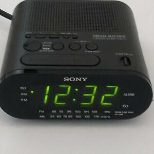 SONY FM AM Digital Clock Radio Alarm Dream Machine ICF-C218 Black Tested