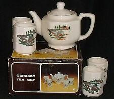 Tea Set COWS Teapot And 4 Cups Vtg Taiwan Unused in Box Vtg Tea Pot Ceramic